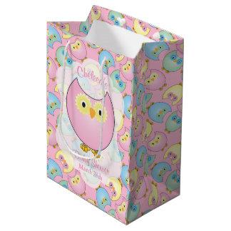 Pastellrosa-Eulen-Babyparty-Thema Mittlere Geschenktüte