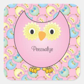 Pastellrosa-Eulen-Babyparty-Thema Quadratischer Aufkleber