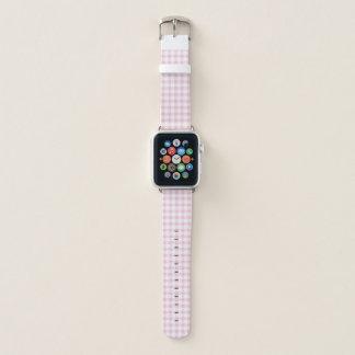 Pastellrosa-Gingham-Karo-Muster Apple Watch Armband