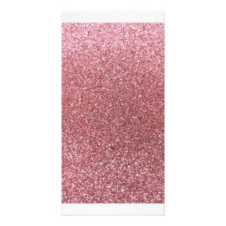 Pastellrosa-Glitter Photo Karten Vorlage