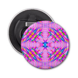 Pastellrosa-Kaleidoskop-Muster abstrakt Runder Flaschenöffner