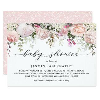 Pastellrosa-Rosen-Baby-Dusche Karte