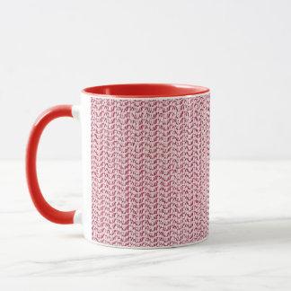 Pastellrosa-Webart-Maschen-Blick Tasse