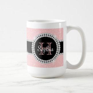 PastellRosen-Rosa-Glitter-mit Monogramm Kaffeetasse