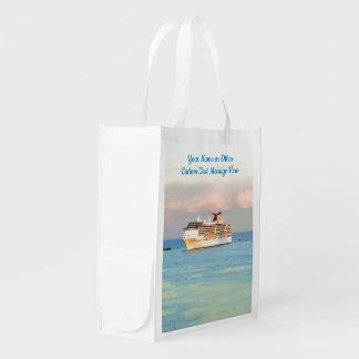 Pastellsonnenaufgang mit Kreuzschiff-Gewohnheit Wiederverwendbare Einkaufstasche
