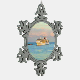 Pastellsonnenaufgang mit Kreuzschiff Schneeflocken Zinn-Ornament
