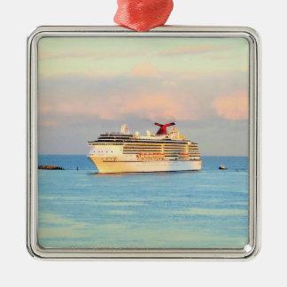 Pastellsonnenaufgang mit Kreuzschiff Silbernes Ornament