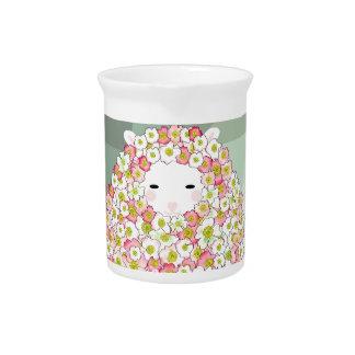 Pastellton-blumiger Schaf-Entwurf Getränke Pitcher