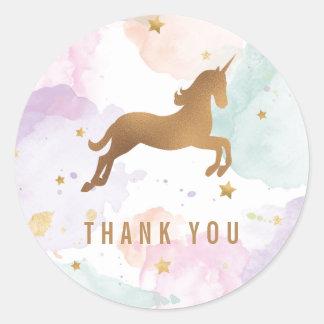 Pastellunicorn-Geburtstags-Party danken Ihnen Runder Aufkleber