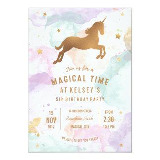 Pastellunicorn-Geburtstags-Party Einladung