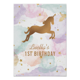 Pastellunicorn-Geburtstags-Party-Zeichen Poster
