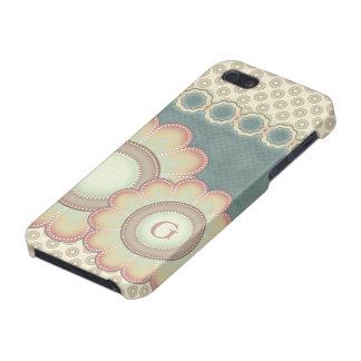 Pastellvolkskunst-Blumen-Monogramm iPhone 5 Schutzhülle