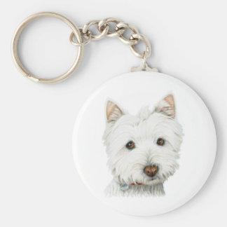 PastellWestie Hund Standard Runder Schlüsselanhänger
