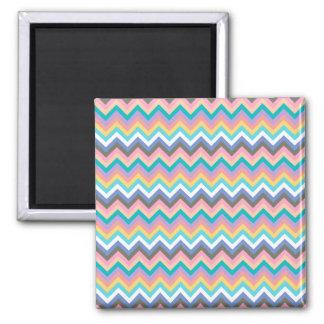 PastellZickzack Mehrfarbenmuster Quadratischer Magnet