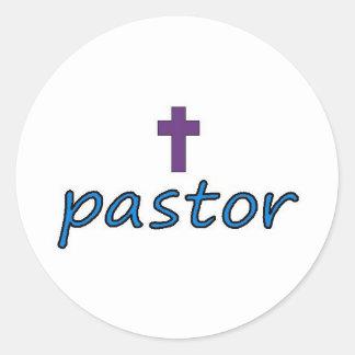 Pastor Cross2 Runder Aufkleber