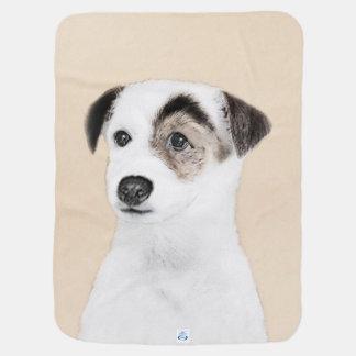 Pastor-Jack-Russell-Terrier-Malerei - Hundekunst Kinderwagendecke