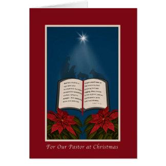 Pastor, offene Bibel-Weihnachtsmitteilung Karte