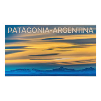 Patagonia-Landschaftssonnenuntergang-Szene, Fotodruck