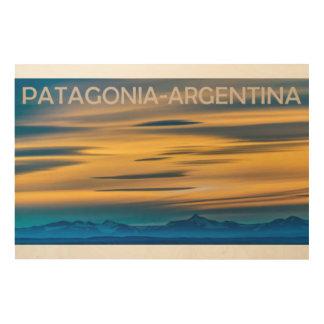 Patagonia-Landschaftssonnenuntergang-Szene, Holzleinwand