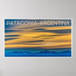 Patagonia-Landschaftssonnenuntergang-Szene, Poster