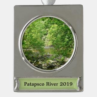 Patapsco Fluss-Ansicht-Maryland-Natur-Fotografie Banner-Ornament Silber