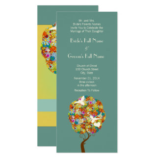 Patchwork-Blumen-Baum und Bienen, die Einladung