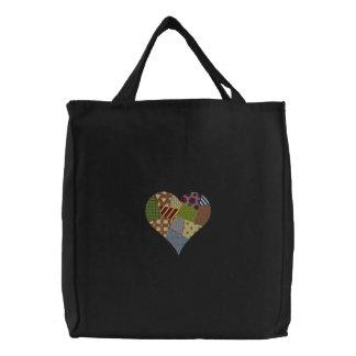 Patchwork-Herz Bestickte Tasche
