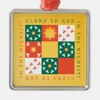 Patchwork-Lob-Weihnachtsverzierung rv Silbernes Ornament