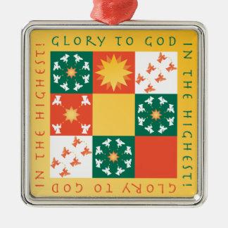 Patchwork-Lob-Weihnachtsverzierung Silbernes Ornament