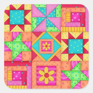 Patchwork-Steppdecke blockiert quadratische Quadratischer Aufkleber
