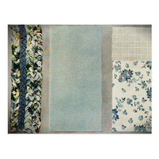 Patchwork-Steppdecken-Rezept-Karte im Blau Postkarten