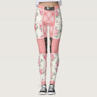 Patchworkchic-Rose und rosa Gamaschen Leggings