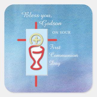 Patensohn, erste heilige Kommunion, blau Quadratischer Aufkleber