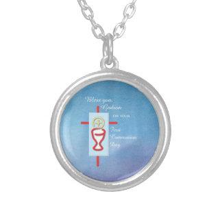 Patensohn, erste heilige Kommunion, blau Versilberte Kette
