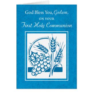Patensohn-erste Kommunion, Weizen, Trauben blau Karte