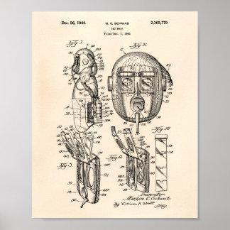 Patent-Kunst altes Peper der Gasmaske-1944 Poster