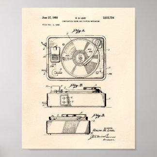 Patent-Kunst altes Peper der Spieluhr-1950 Poster