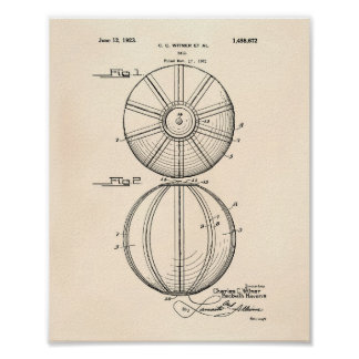 Patent-Kunst altes Peper des Wasserball-Ball-1923 Poster