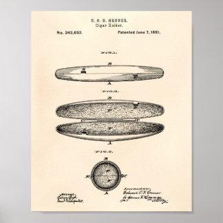 Patent-Kunst altes Peper des Zigarren-Halter-1881 Poster