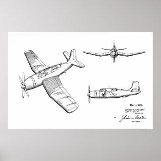 Patent-Kunst des Flugzeug-1946 WW2, die Druck Poster