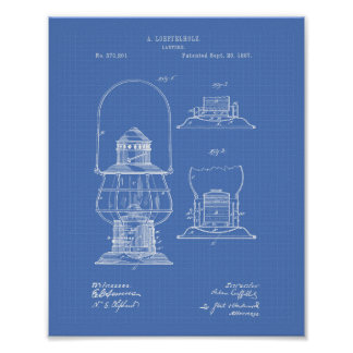 Patent-Kunst-Plan der Laternen-1887 Poster