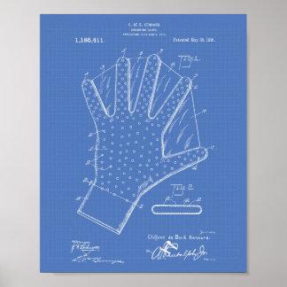 Patent-Kunst-Plan des Schwimmen-Handschuh-1916 Poster