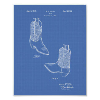 Patent-Kunst-Plan des Stiefel-1940 Poster