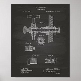 Patent-Kunst-Tafel des Bier-Hahn-1876 Poster