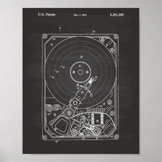Patent-Kunst-Tafel des Festplattenlaufwerk-1994 Poster