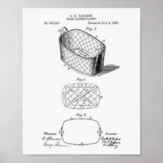 Patent-Kunst-Weißbuch des Schienen-Wäschekorb-1893 Poster