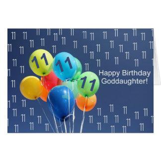 Patenttochter, 11. glücklicher Ballongeburtstag Karte