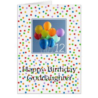 Patenttochter, 12. Geburtstag farbige Ballone Karte