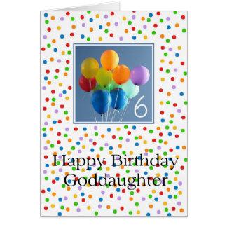 Patenttochter, 6. glücklicher Ballongeburtstag Karte