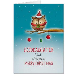 Patenttochter, Eulenwunsch Sie frohen Weihnachten Karte
